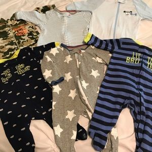 Lot of 6 NB zip up jammies